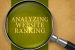 Analyzing Website Ranking through Magnifying Glass on Old Paper with Dark Green Vertical Line Background. 3D Render.