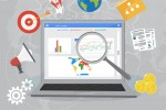 Colorful flat illustration web analytics design , SEO optimization. Search Engine Optimization. Laptop with Graph,Magnifying Glass, target, gears and other flat icons.
