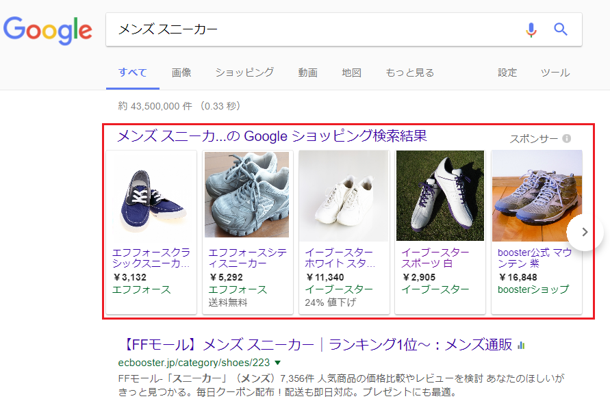 Googleショッピング広告の掲載イメージ