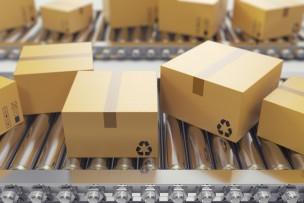 3D illustration Packages delivery, packaging service and parcels transportation system concept, cardboard boxes on conveyor belt