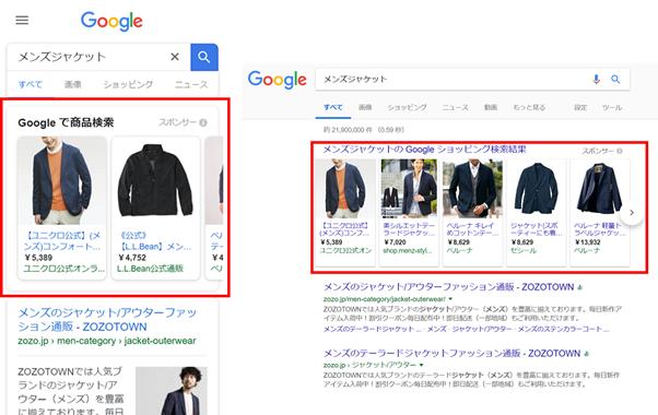 Googleショッピング広告の表示のされ方