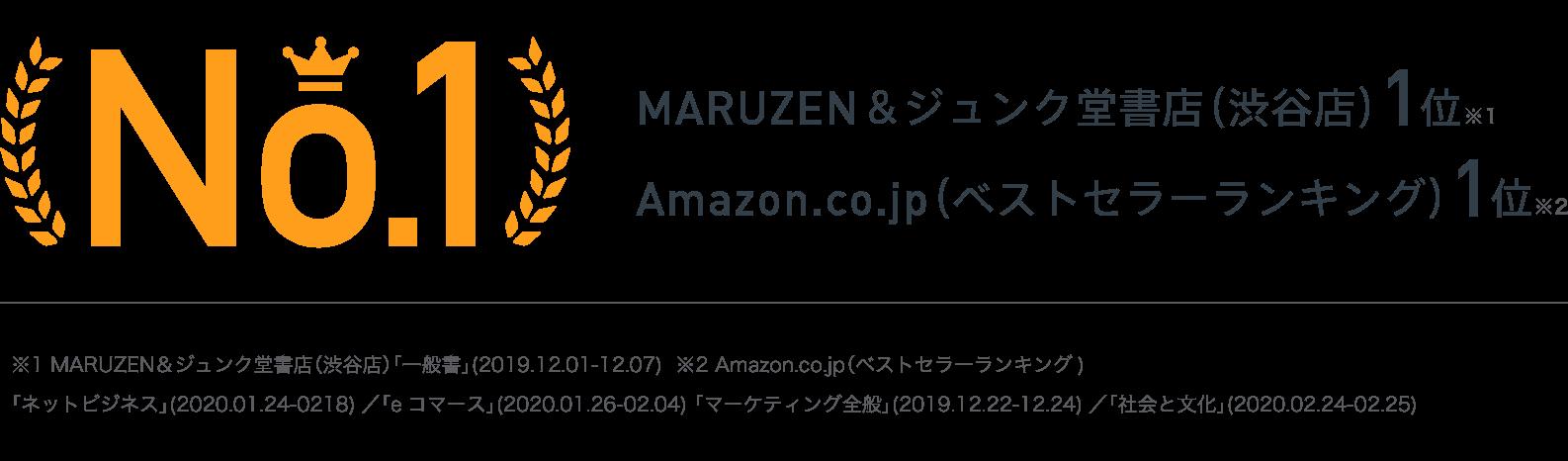 MARUZEN&ジュンク堂書店(渋谷店)1位 Amazon.co.jp(ベストセラーランキング)1位